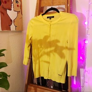 Bright Yellow Button Up Cardigan